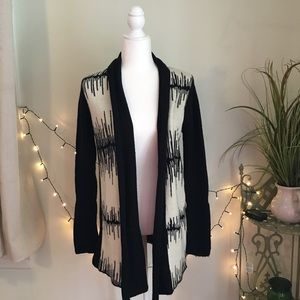 BB Dakota Open Long Cardigan Black & White